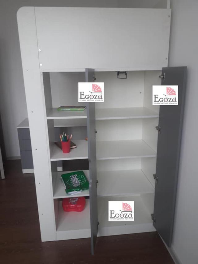 Кровать чердак Polini Simple с рабочей зоной и шкафом купить в Алматы