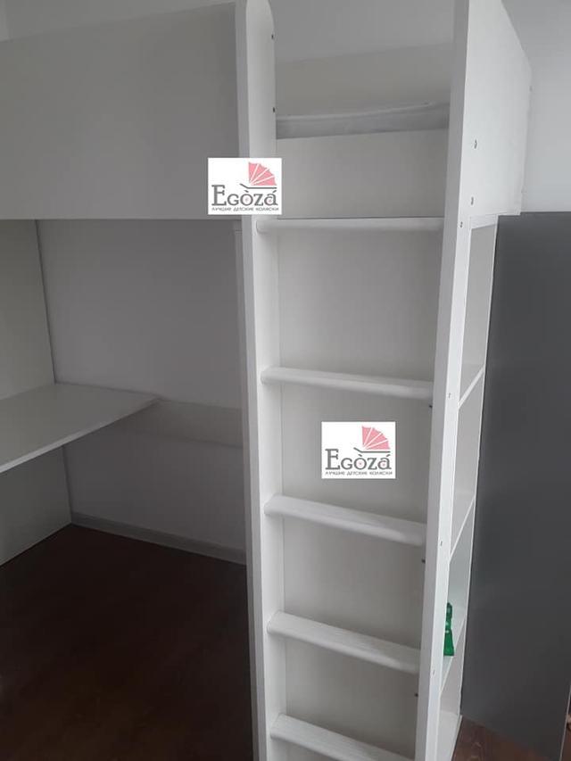 Кровать чердак Polini Simple с рабочей зоной и шкафом по низким ценам