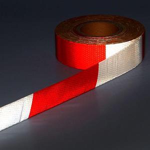 Самоклеящаяся лента разметочная маркировочная светоотражающая красно-белая 30мм