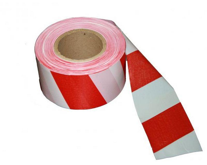 Самоклеящаяся лента оградительная светоотражающая 50 мм х 45 метров (красно-белая)