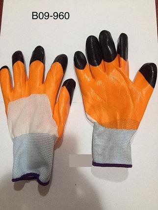 Перчатки нейлоновые оранжевые с черными пальцами, фото 2