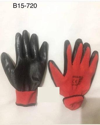 Перчатки нейлоновые с нитриловым покрытием, красные, фото 2