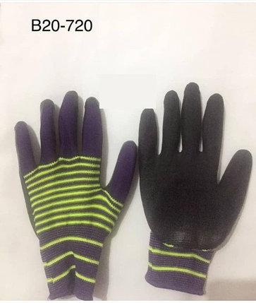 Перчатки нейлоновые с нитриловым покрытием «морячка» фиолетовые/желтые, фото 2