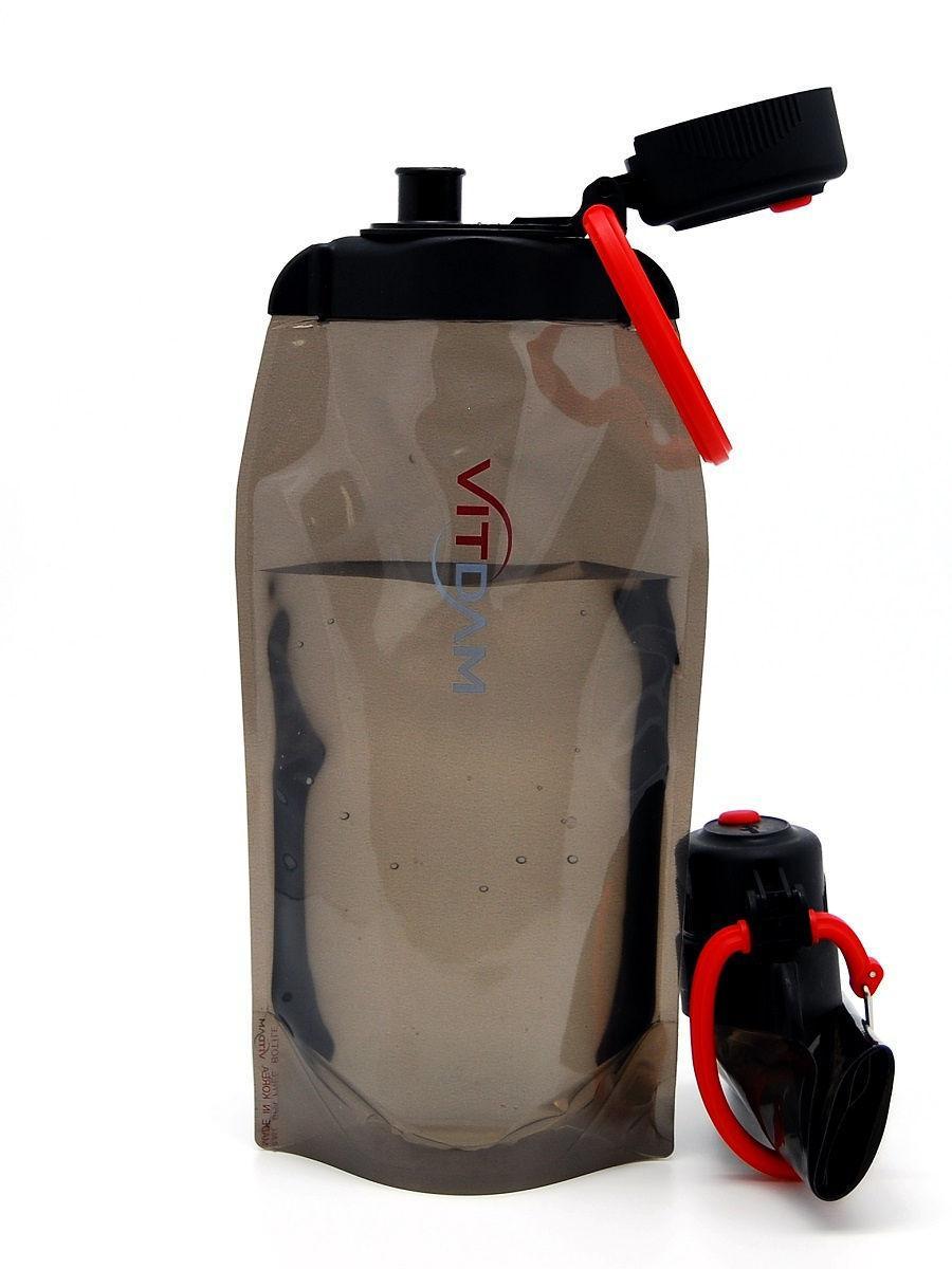 Складная эко бутылка без фильтра для холодных или горячих пищевых жидкостей Vitdam 860 мл (коричнева