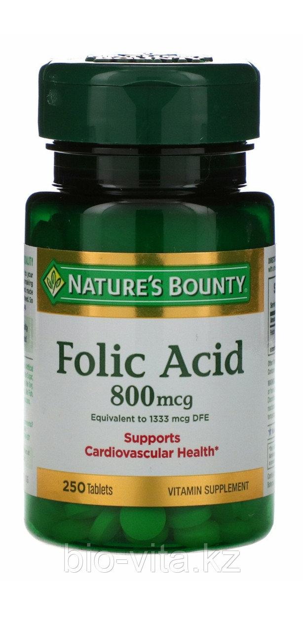 Фолиевая кислота  800 мкг, 250 таблеток. Nature's Bounty