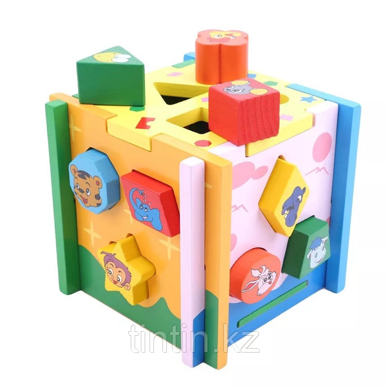 Деревянный развивающий куб-сортер