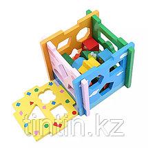 Деревянный развивающий куб-сортер, фото 3