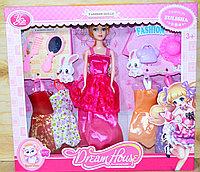 YSN-607 Кукла(качеств.)+4 платья, зеркало и аксессуары 35*32см, фото 1