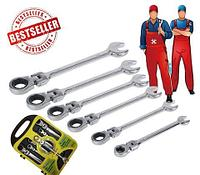 Набор шарнирных рожково-накидных гаечных ключей с трещотками FREED Professional в кейсе {7шт., 8-19мм}