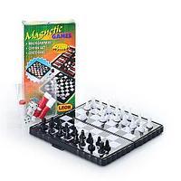 Карманный набор настольных игр 3 в 1 Magnetic Games {магнитные шахматы + нарды + шашки}
