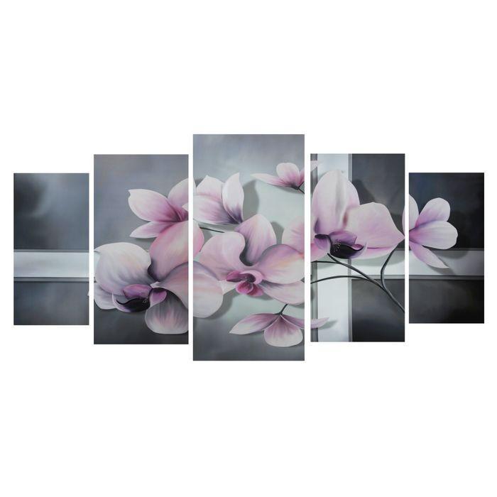 """Модульная картина на подрамнике """"Ветка орхидеи"""", 2 — 40×80, 2 — 50×100, 1 — 60×120, 120×250 см"""