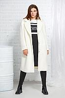 Женское осеннее драповое белое пальто AVE RARA 1009 экрю 44р.