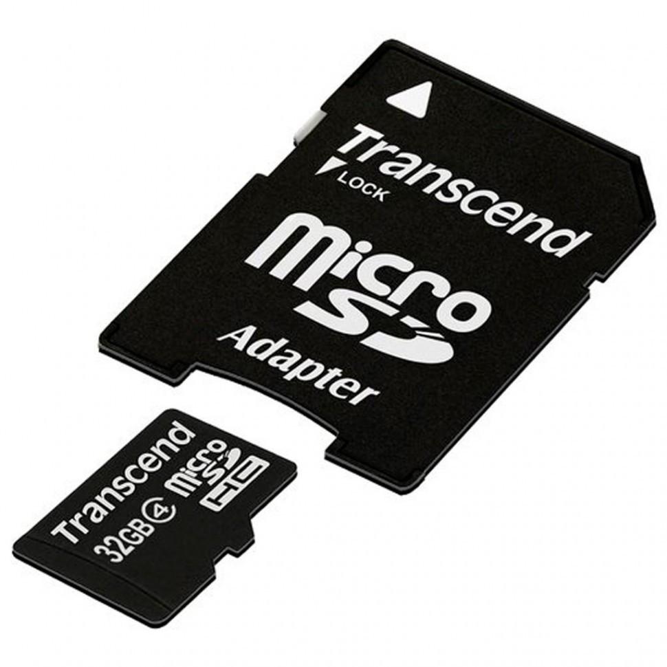 Карта памяти MicroSD 32GB Class 4 Transcend TS32GUSDHC4