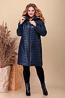 Женское осеннее синее большого размера пальто Асолия 3518/1 тёмно-синий 56р.