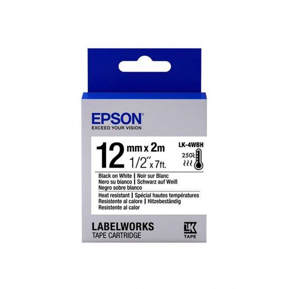 Лента Epson C53S654025 LK-4WBH-Лента устойчивая к нагреву, 12мм, Бел./ Черн.,2м