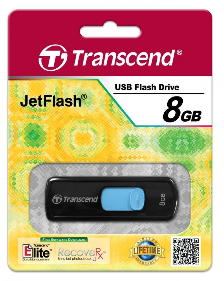 USB Флеш 8GB 2.0 Transcend TS8GJF500 черный-синий