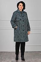 Женское осеннее драповое бирюзовое большого размера пальто MadameRita 1099 50р.