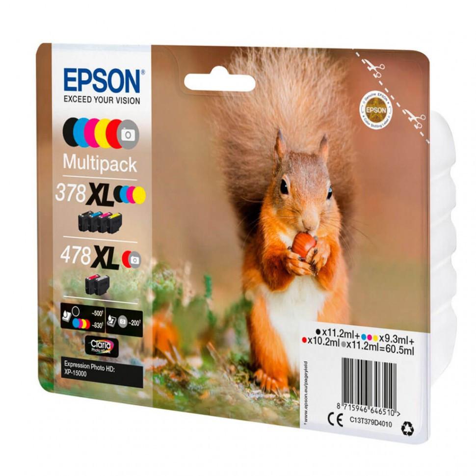 Картридж Epson C13T379D4020  478XL Mpack Ink(Bk.C.M.Y.R.GY) RF/AM Tag набор 6 шт