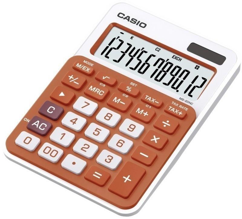 Калькулятор настольный CASIO, MS-20NC-RG-S-EC, оранжевый