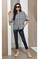 Женские осенние кожаные синие брюки Condra 14061 42р.