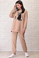 Женский осенний трикотажный бежевый спортивный спортивный костюм LIMO 10018 бежевый 42р.
