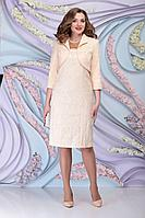 Женский осенний кружевной желтый нарядный комплект с платьем Ninele 513 золото 48р.