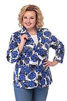 Женский осенний хлопковый синий деловой большого размера жакет БелЭльСтиль 203 синий_цветы 48р.