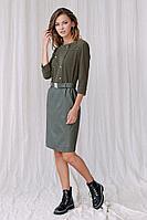 Женское осеннее кожаное зеленое платье Fantazia Mod 3757 46р.