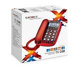 Телефон проводной Texet ТХ-260 красный, фото 2