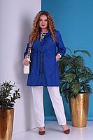 Женское осеннее черное большого размера пальто Grace for you 401 синий 52р.