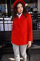 Женское осеннее драповое красное полупальто Lyushe 2459 44р.