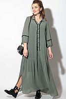 Женское осеннее шифоновое зеленое большого размера платье SOVA 11097 зеленый 54р.