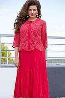 Женский осенний кружевной красный нарядный большого размера комплект с платьем Vittoria Queen 11763 52р.