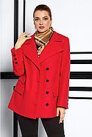 Женское осеннее драповое красное пальто Lissana 3910 алый 50р.
