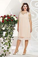 Женское осеннее шифоновое бежевое нарядное большого размера платье Mira Fashion 4828-2 50р.