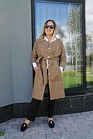 Женское осеннее драповое бежевое пальто FS 700 48р.