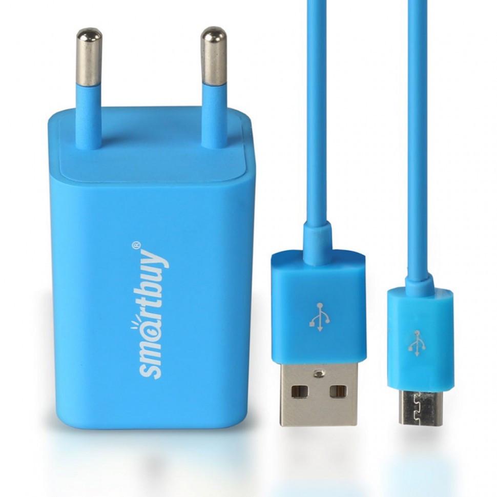 СЗУ SmartBuy TRAVELER Combo, 2*USB + дата-кабель MicroUSB, 2А, синее  (SBP-3150)/60