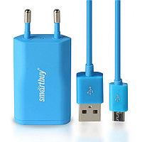 СЗУ SmartBuy SATELLITE Combo, USB+дата-кабель MicroUSB, 1А, Soft-touch, синее (SBP-2750)/60