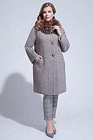 Женское зимнее драповое коричневое большого размера пальто ElectraStyle НП4у-8035-255 коричневый 50р.