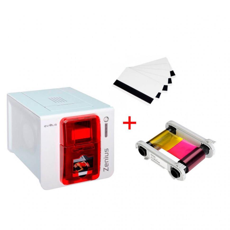 Карточный принтер Zenius в подарок 100 классических белых карт + 1 Цветная лента для принтера Evolis