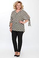 Женская летняя большого размера блуза Matini 4.1322 черный+горохи 58р.