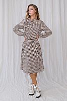 Женское осеннее шифоновое коричневое платье Fantazia Mod 3731 46р.