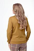 Женский осенний трикотажный желтый джемпер Anelli 560 горчица 44р.