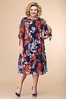 Женское осеннее шифоновое нарядное большого размера платье Romanovich Style 1-2043 красный/синий 54р.