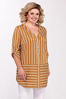 Женская осенняя желтая большого размера блуза Matini 4.1097 горчица 58р.