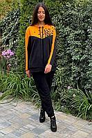 Женский осенний трикотажный спортивный большого размера спортивный костюм Faufilure С792 черный-оранж 52р.