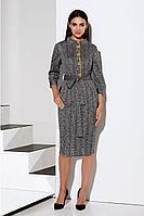 Женское осеннее трикотажное серое деловое платье Lissana 4091 50р.