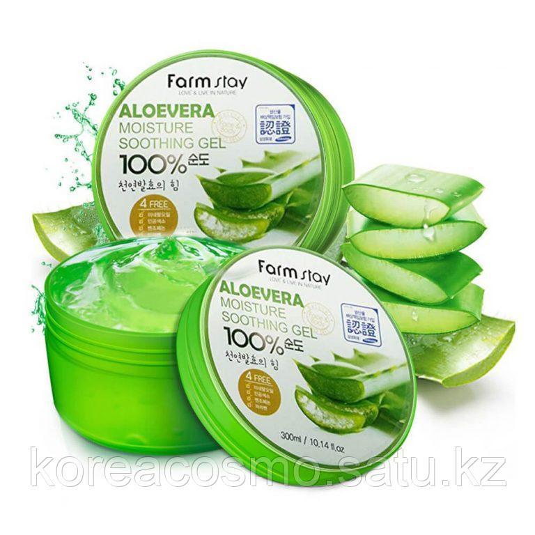 FarmStay Многофункциональный гель с экстрактом алоэ Aloe Vera Moisture Soothing Gel 100% 300 мл