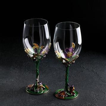 Набор бокалов для вина «Аленький цветок», 2 шт, 350 мл, 8×21 см, цвет зеленый