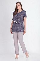 Женская летняя хлопковая синяя большого размера блуза БелЭкспози 1189 50р.